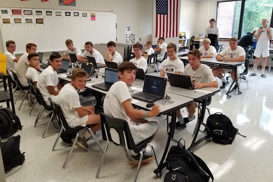 Student athletes in computer lab