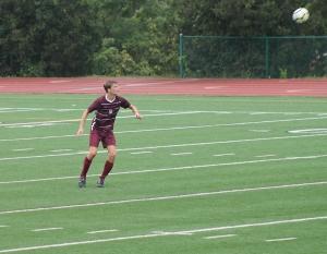 Will McGrew heading the ball